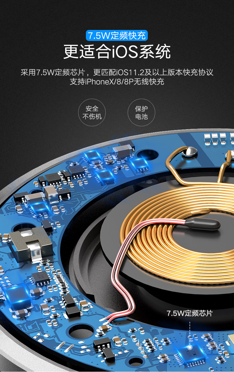 绿联7.5W无线充电器,苹果iphone8/X小米mix2s定频快充