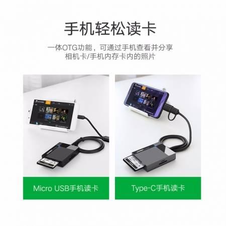 绿联USB3.0读卡器,支持多卡同时读取